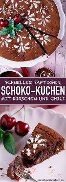 schokoladenkuchen mit kirschen und chili