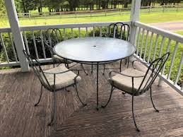 Vintage Woodard Cast Iron: Dining Table, 4 Chairs, 2 Lounge ... Amazoncom Tk Classics Napa Square Outdoor Patio Ding Glass Ding Table With 4 X Cast Iron Chairs Wrought Iron Fniture Hgtv Best Ideas Of Kitchen Cheap Table And 6 Chairs Lattice Weave Design Umbrella Hole Brown Choice Browse Studioilse Products Why You Should Buy Alinum Garden Fniture Diffuse Wood Top Cast Emfurn Nice Arrangement Small For Balconies China Seats Alinium And Chair Modway Eei1608brnset Gather 5 Piece Set Pine Base
