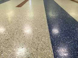 Closeup Photo Of A Terrazzo Floor Notice The Zinc Strip That Separates Different Colors