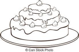 Outline cake Outline illustration cake on plate