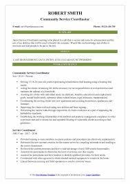 Community Service Coordinator Resume Sample