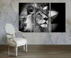 3 Panel Canvas Split Black And White African Lion