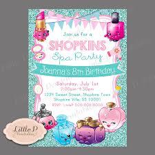 Shopkins Invitation Shopkins Spa Party Teal Glitter Sparkle