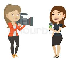 Caucasian Female Reporter With Microphone Presenting The News Young Operator Filming And Recording