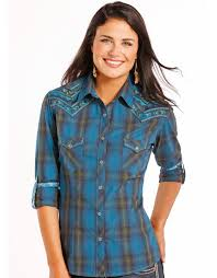 rough stock women u0027s long sleeve embroidered plaid snap shirt blue