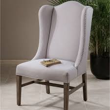 Simple Gray Microfiber Wingback Chair With Nailhead Ornament ... Harlow Velvet Wingback Ding Chair With Nailheads Set Of 2 Iconic Home Shira Faux Linen Belgravia Wing Back Rattan With Cushion Wingback Ding Chairs Genevaolszewskico Host 300350126 Sofas And Sectionals Amazoncom Upholstered Chairs Mid Century Nailhead For Best Fniture Fnitures Fill Your Room Pretty Parsons Cheap Decor Gallery
