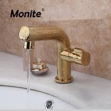 luxus bad becken waschbecken wasserhahn zeitgenössische bad gold messing armaturen auslauf deck montieren mischbatterien