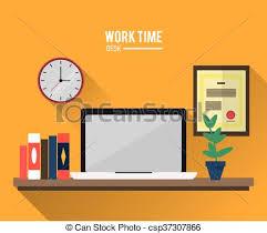 bureau coloré bureau coloré travail illustration temps icon design