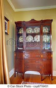 Antique china cabinet Antique old china cabinet in the stock