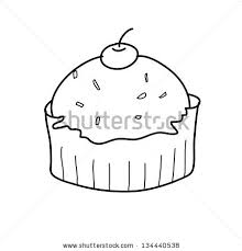 cup cake sketch in black and white style free hand drawing