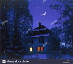 100 Crescent House Residential House Window Illuminateds Winter Crescent
