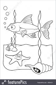 Aquatic Wildlife Underwater Scene With Fish Starfish And Shell Cartoons Line Art For Coloring