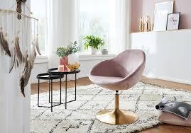 wohnling loungesessel sarin samt rosa gold design drehstuhl