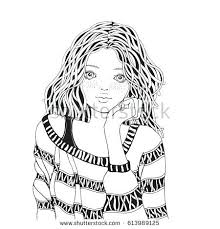 Sweater Coloring Page Cute Girl In A Striped Book For Adult Black And