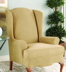 Stretch Suede Wing Chair Recliner Slipcover by Amazon Com Sure Fit Stretch Suede Wing Chair Slipcover