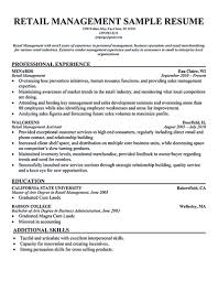 Retail Store Manager Resumes Examples Resume Sample Best Of Management