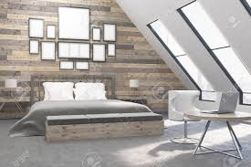 schlafzimmer mit tisch und stühlen board wände konzept der wohnung 3d rendering attrappe lehrmodell simulation