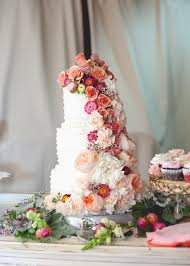 Wedding Cake With Flowers Cascading Peach And Navy Blue Part 2 The