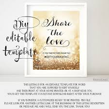 Printable Hashtag Sign TEMPLATE Diy Wedding Share The Love Glitter