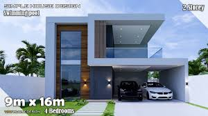 104 Housedesign House Design Simple House 9m X 16m 2 Storey 4 Bedroom Youtube