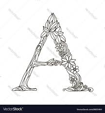 Letter A Coloring Book For Adults Vector Image