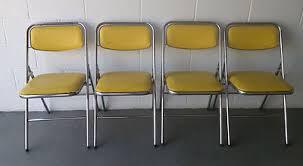 set of 4 samsonite vintage mid century modern yellow chrome