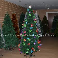 6ft 180cm Christmas Tree Fiber Optic Pre Lit Xmas With Butterfly LED Lights