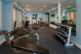 Wonderful Home Gym Ideas Decorated With Large Wall Mirror And Cool Blue Painted