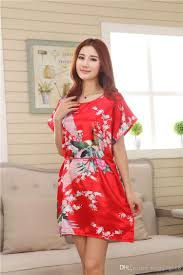 best wholesale chinese peony silk pullover sleep robes