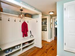 long wall mounted mudroom bench with tiered shoe storage