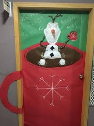 christmas door decoration for a classroom olaf in a mug of hot