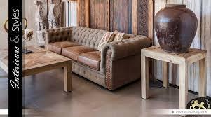 canap rustique bout de canapé carré pin massif recyclé style rustique intérieurs