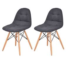 Set Of 2 Mid-Century Upholstered Dining Side Chairs ...