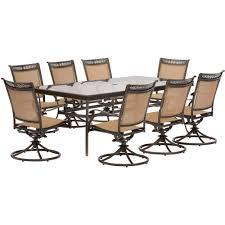 Sams Patio Seating Sets by Hanover Fontana 9 Piece Aluminum Rectangular Outdoor Dining Set