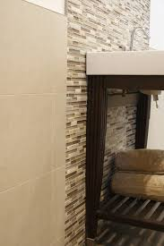 linen look tile bathroom contemporary with glass and mosaic