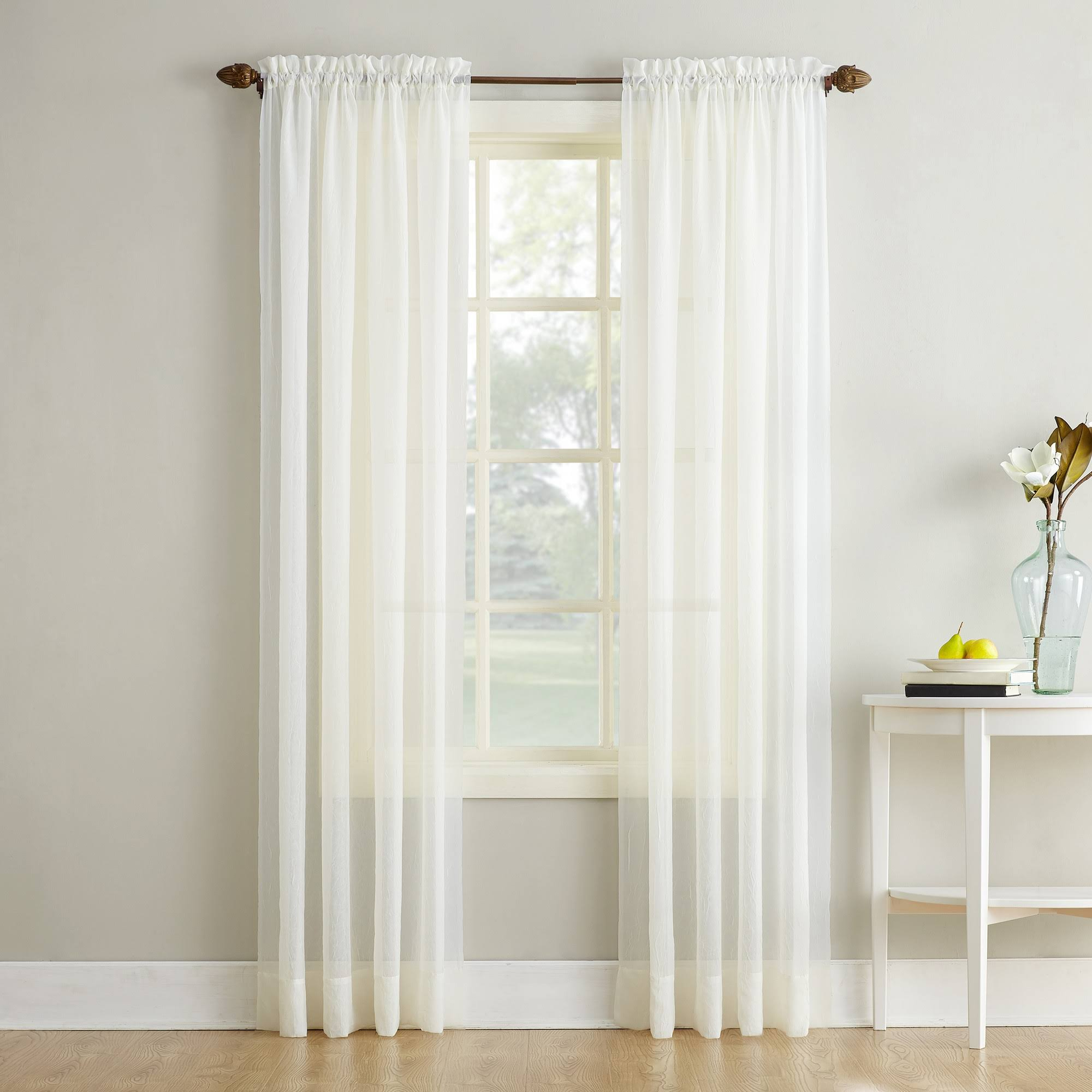 No. 918 Erica Crushed Texture Sheer Voile Curtain Panel, Eggshell