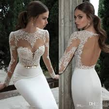 discount 2017 berta bridal backless dresses gowns long sleeve
