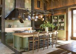 Awesome Modern Rustic Kitchen Design With Brown Bar And Wooden Chairs