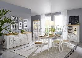 esszimmer 10teilig flair kiefer 2farbig weiß eichefarben casade mobila
