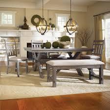 powell turino 6 piece rectangle dining room set in grey oak