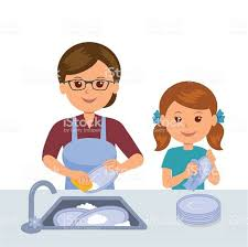 Mother And Daughter Washing The Dishes Stock Vector Art