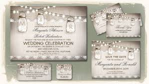 Rustic Mason Jar Wedding Invitations With Burlap Texture