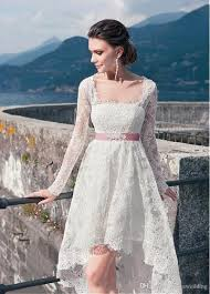 discount 2016 bohemian wedding dresses high low full sleeve lace
