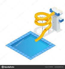 Isometric Colourful Water Slide And Tubes With Pool Aquapark Equipment Set For Design Swimming Slides Vector Illustration Isolated On