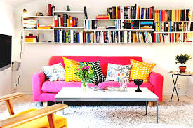 Cute College Girl Apartment Living Room Decorating Ideas With Pink Microfiber Sofa On Grey Carpet And