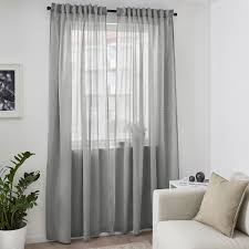 hilja grey curtains 1 pair 145x250 cm ikea