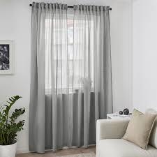 hilja grey curtains 1 pair 145x250 cm ikea