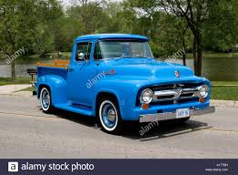 100 56 Ford Truck 19 F100 Custom Cab Pickup On Pavement Stock
