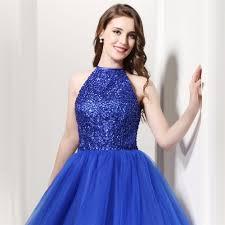 brlmall royal blue homecoming dresses 2017 halter backless beading