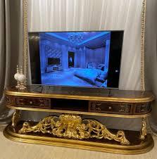 casa padrino luxus barock tv schrank braun antik gold 220 x 50 x h 70 cm prunkvoller massivholz fernsehschrank barock wohnzimmer möbel